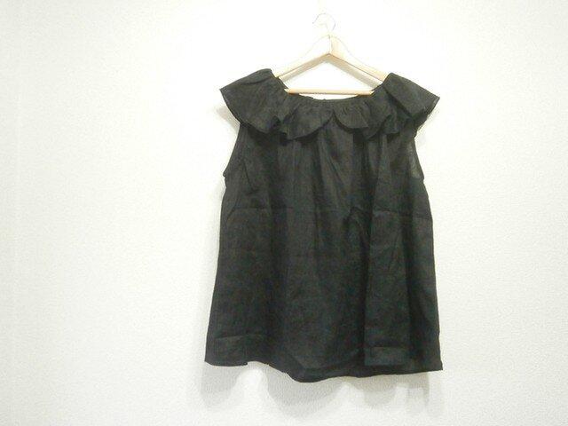 (送料無料)en-enギャザーフレアー襟袖なしプルーバー・黒の画像1枚目