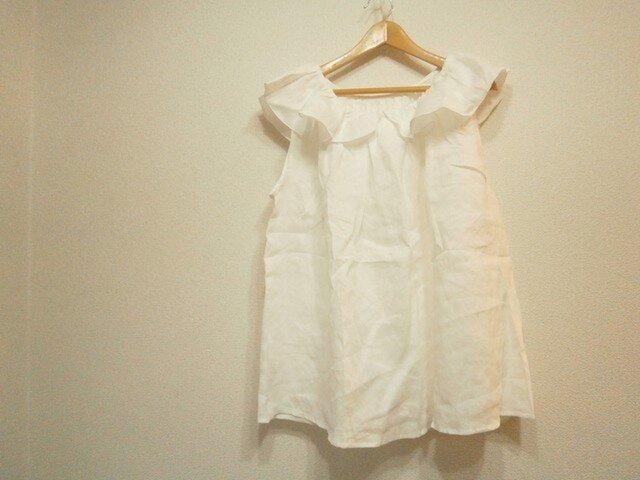 en-enギャザーフレアー襟袖なしプルーバー・オフホワイトの画像1枚目