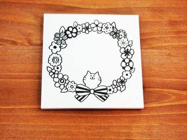 猫のお花メモ用紙の画像1枚目