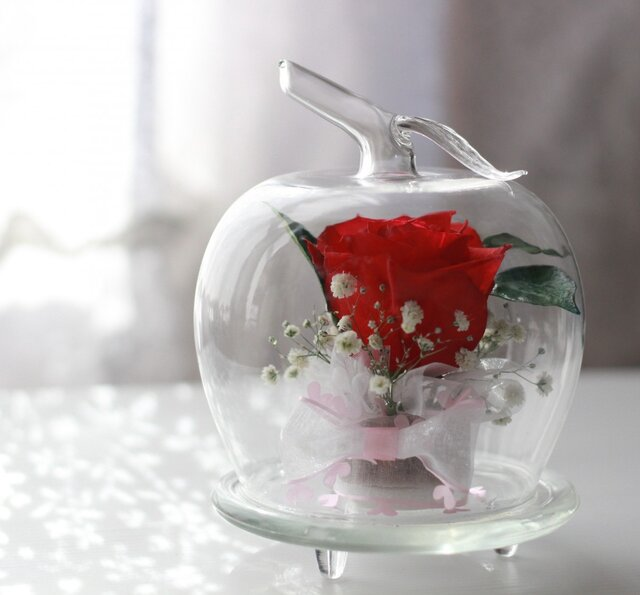 ■ボトルフラワー・アップル バラ(赤)■の画像1枚目