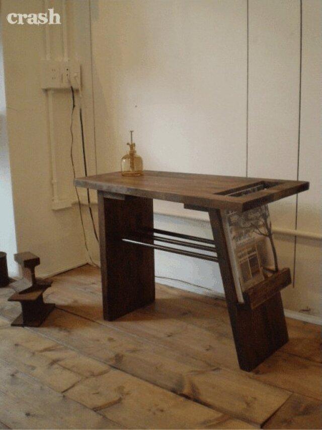 数量限定 ブックスタンド アイアン デスク サイドテーブル 本棚 机 ウッド カフェテーブルの画像1枚目