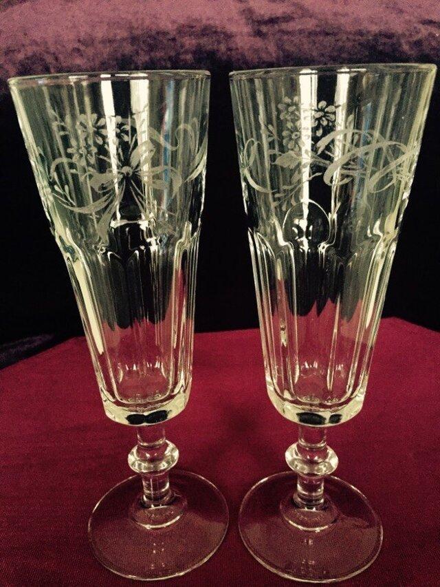 リボンと小花のペアグラス 〜手彫りガラス〜をの画像1枚目