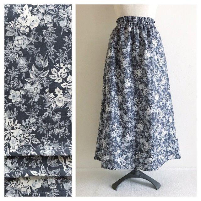 レディのための麻のAラインスカート(パープルグレー)の画像1枚目