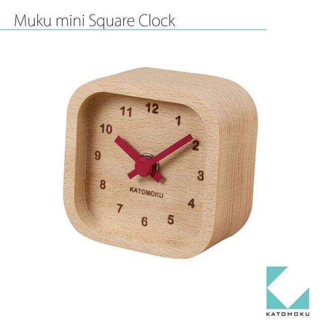 KATOMOKU mini clock km-25赤 角の画像1枚目
