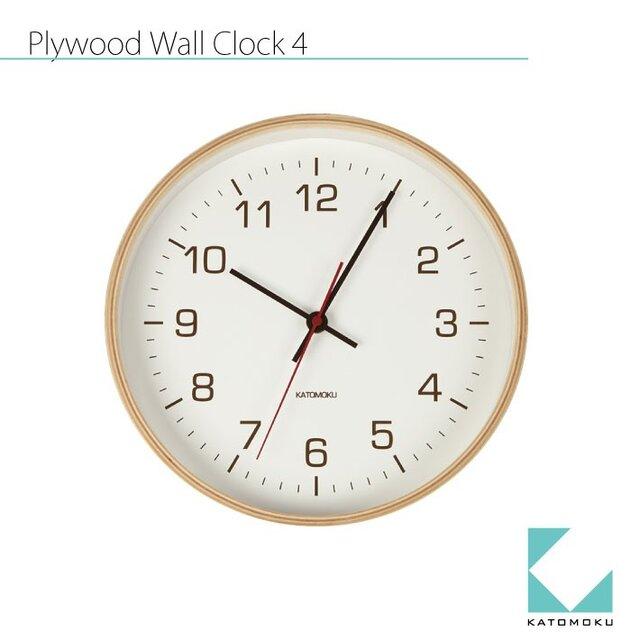 KATOMOKU plywood wall clock 4 ナチュラルの画像1枚目
