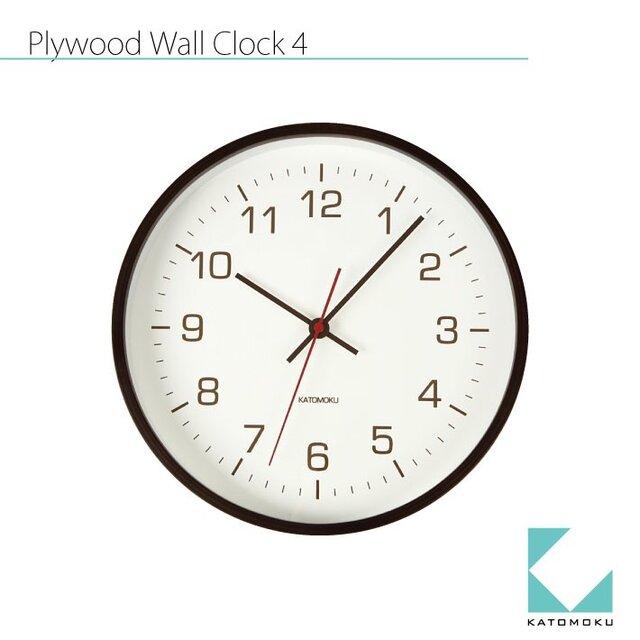 KATOMOKU plywood wall clock 4 ブラウンの画像1枚目