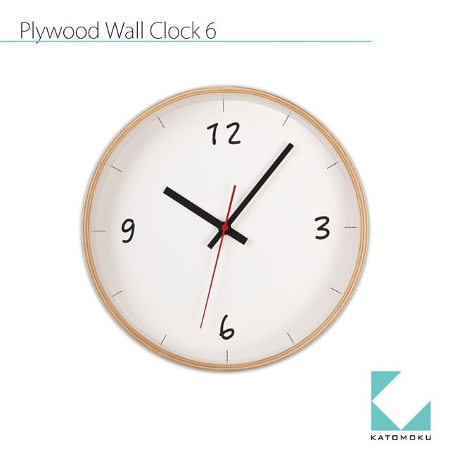 KATOMOKU plywood wall clock 6 km-52Nの画像1枚目