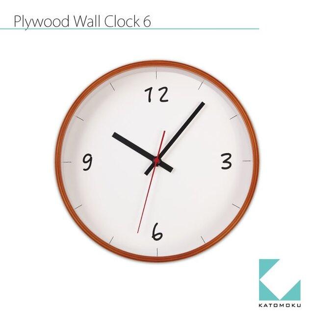 KATOMOKU plywood wall clock 6 km-52LBの画像1枚目