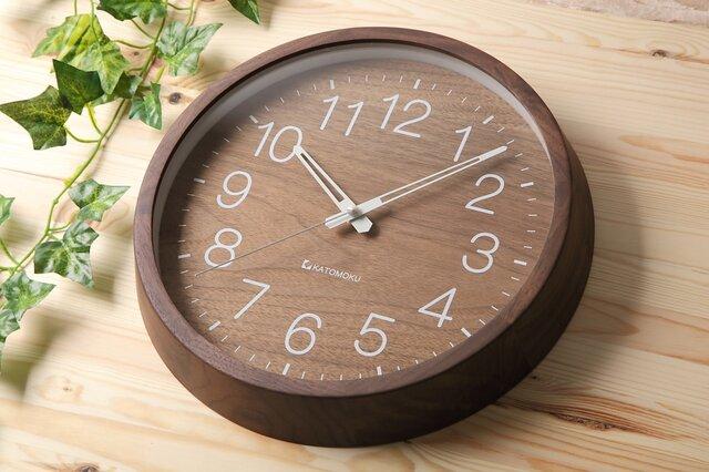 KATOMOKU muku clock 2 ウォールナット km-46RC 電波時計の画像1枚目