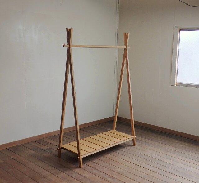 ナラのハンガーラック【大】工具不要の組み立て式の画像1枚目
