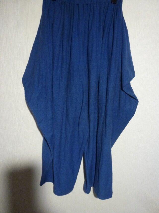 綿天竺ウエストゴム変形パンツ ブルーFの画像1枚目