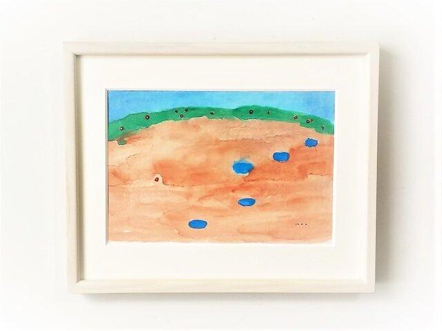 「雨上がりの晴れた空に」イラスト原画 ※額縁入りの画像1枚目
