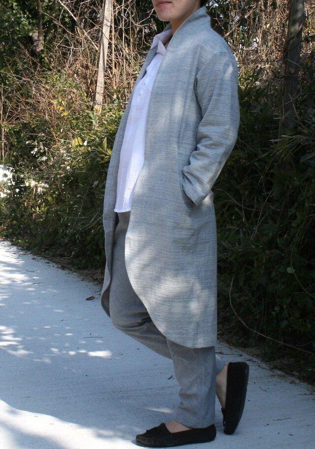 インディゴ・ロング羽織ジャケットの画像1枚目