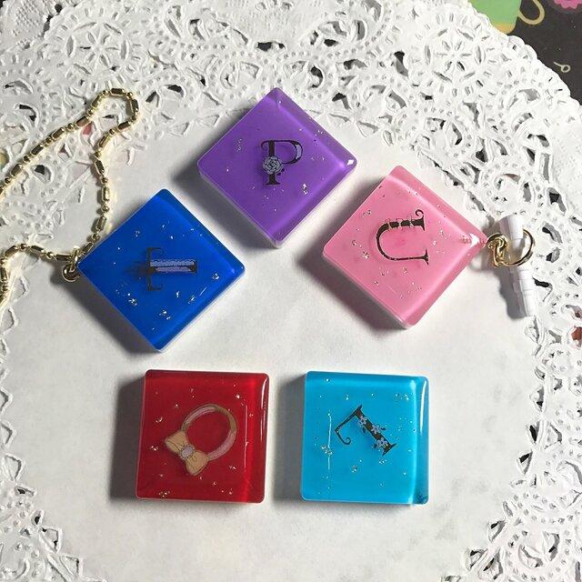選べる5カラー☆イニシャル煌めきCandyキーホルダーの画像1枚目