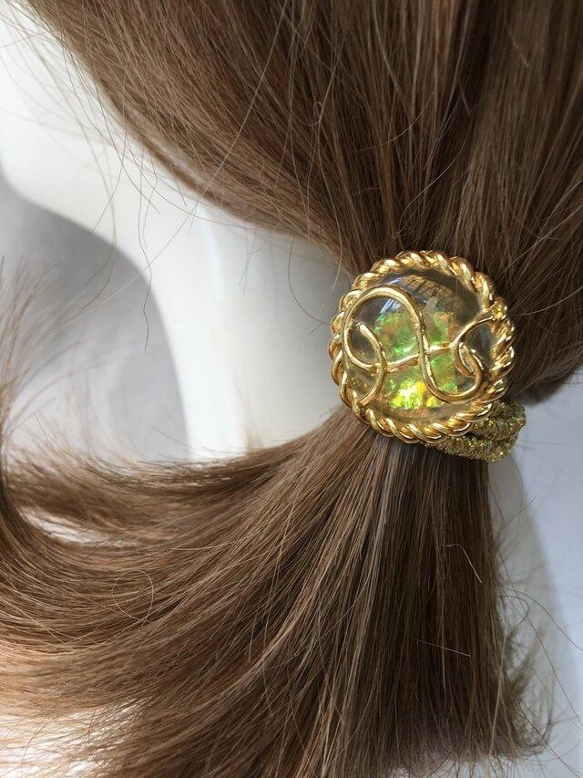 イタリア 世界の飾りボタン ヘアゴム オーロラ ゴールド (ラメゴム)[mazh-120L]の画像1枚目