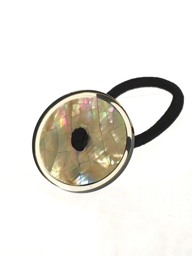 イタリア ヴィンテージ 世界の飾りボタン ヘアゴム シェル ブラウン[mazh-122]の画像1枚目