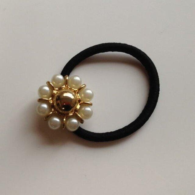 フランス ヘアゴム(お花)ゴールド×ホワイト<パール加工>[fza-005]の画像1枚目