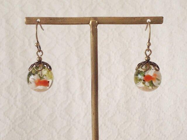 金魚鉢風のピアス(球小)の画像1枚目