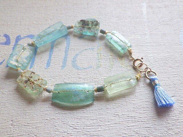☆再販☆Rectangular Roman Glass Bracelet 14kgfの画像1枚目