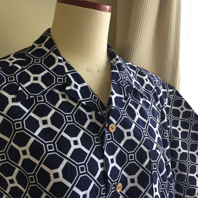 2L〜3L・浴衣シャツ(メンズ向け)幾何学模様2の画像1枚目