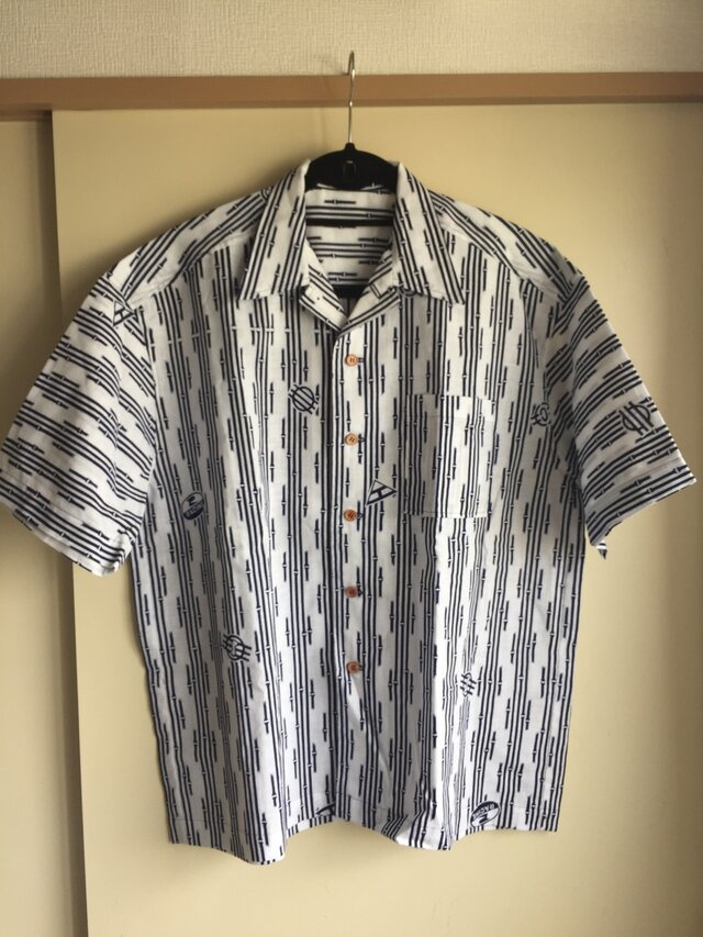 L・浴衣シャツ(メンズ向け)竹の模様の画像1枚目
