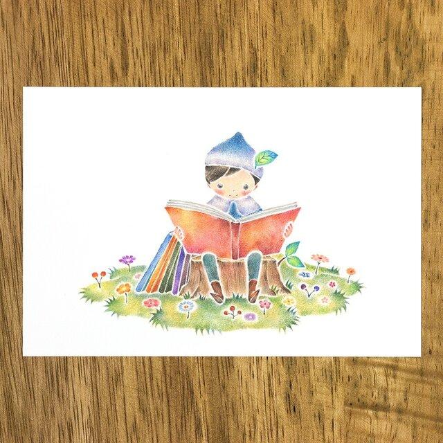 """4枚セット。絵本のような。ポストカード """"読書をする小人のセロ"""" PC-339の画像1枚目"""