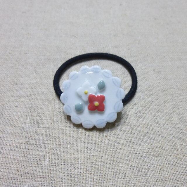 紅白小花レースヘアゴムの画像1枚目