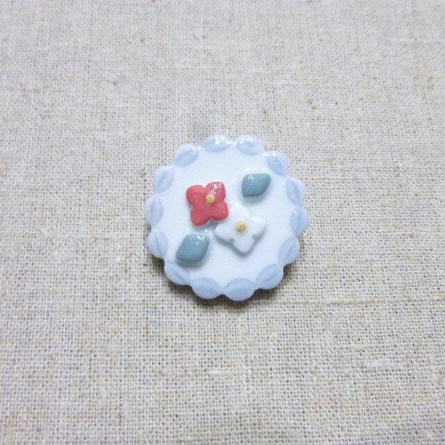 紅白小花レースブローチの画像1枚目