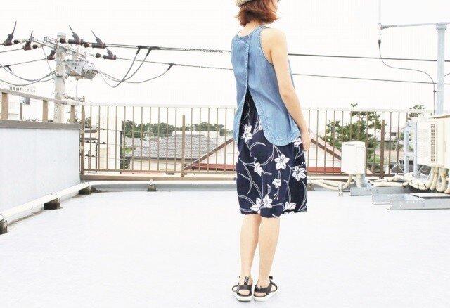 着物リメイク・浴衣の毎日スカート(石竹の花・M)の画像1枚目