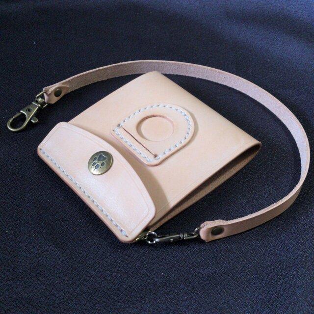 r様仕様の薄型シンプル札ばさみ MC-10r コインポケット&肉球ホック&ウォレットコード付き マネークリップ ヌメ革生成りの画像1枚目