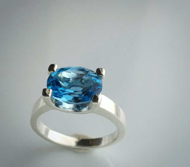 blue topaz ring/silver925の画像1枚目