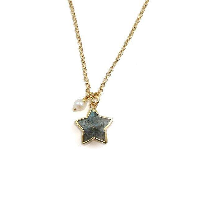 天然石 ラブラドライト 星 ゴールドネックレスの画像1枚目