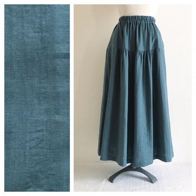 【肌ざわり至上主義】ベーシックな無地ティアードスカート(ダブルガーゼ:アッシュグレー)の画像1枚目