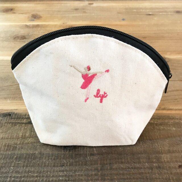 BALLET 刺繍 キャンバスシェルポーチの画像1枚目