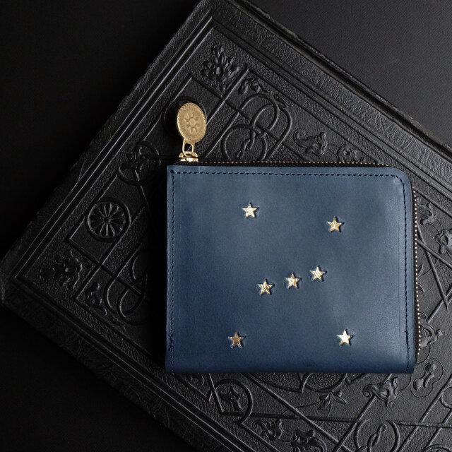 Lウォレット L字ファスナー財布( ORION ナイトブルー)牛革 レザー メンズ レディース ILL-1160の画像1枚目