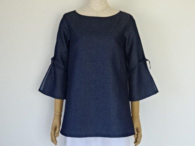 綿麻スリット袖のチュニック・インディゴの画像1枚目