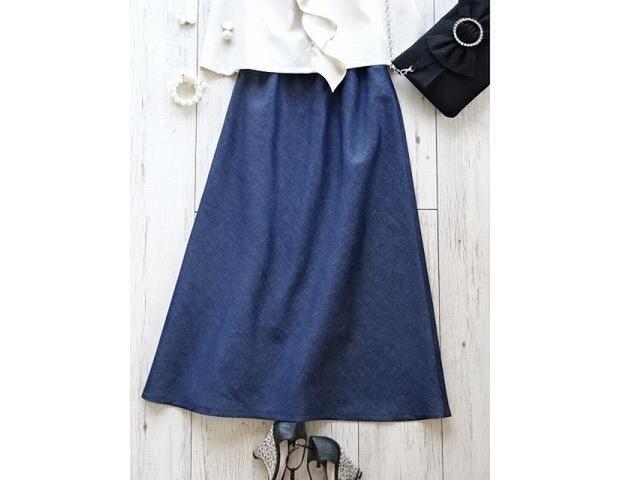 シンプルな綿麻マキシスカート・インディゴ(S/M/Lサイズ)の画像1枚目