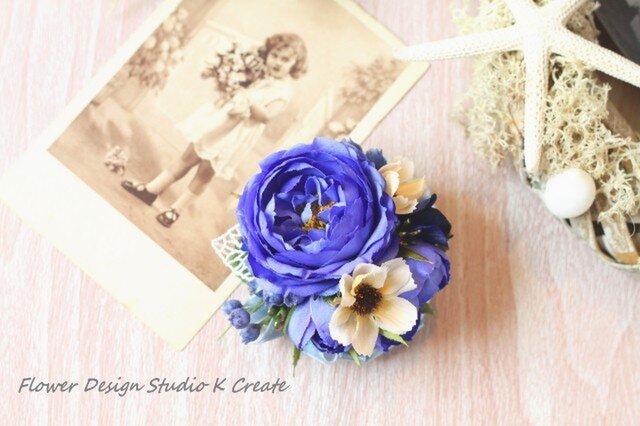 青い薔薇とコスモスのコサージュ(ヘッドドレス可)の画像1枚目