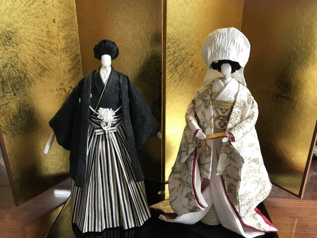 本格派友禅和紙人形(#003花婿花嫁)の画像1枚目