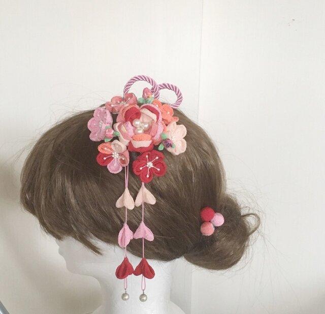 十二単衣のような髪飾りセット3(成人式・七五三・ちりめん細工)の画像1枚目