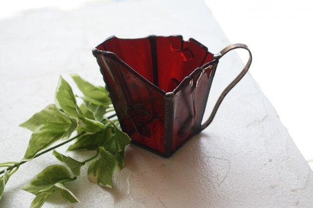 マグカップ型フラワーベース*ステンドグラス(ワインレッド)の画像1枚目