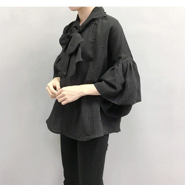 en-en ●黒 リネン 前リボンギャザー袖プルオーバー・黒★生地変更の画像1枚目