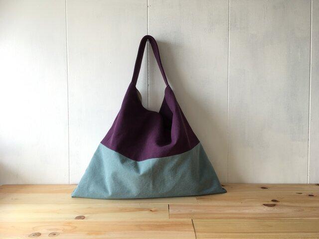 【受注製作】紫陽花色と空色の三角鞄の画像1枚目