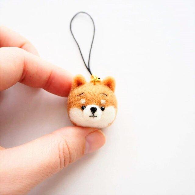 まゆ柴犬 携帯クリーナーストラップ※受注製作 羊毛フェルト(アクレーヌ製)の画像1枚目