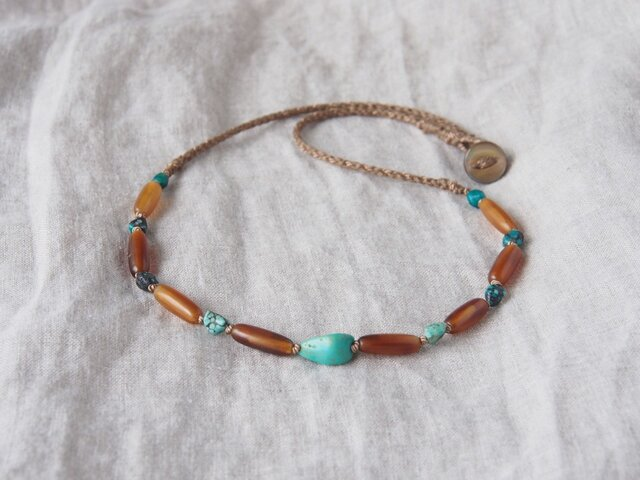 Turquoise&BuffaloHorn Short Necklaceの画像1枚目