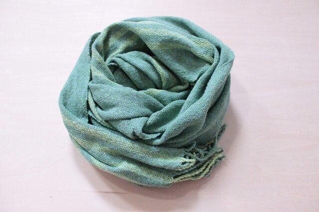 手織り 春夏 グリーンストール シルク素材 の画像1枚目