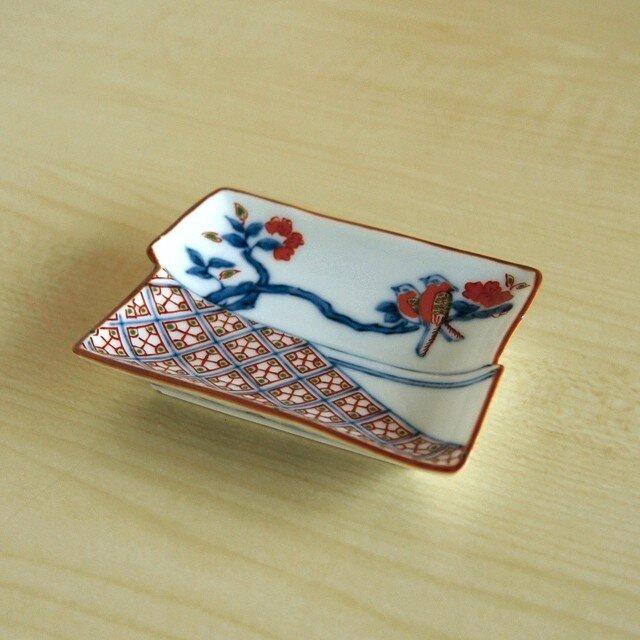 染錦地紋鳥文 角型手塩皿の画像1枚目