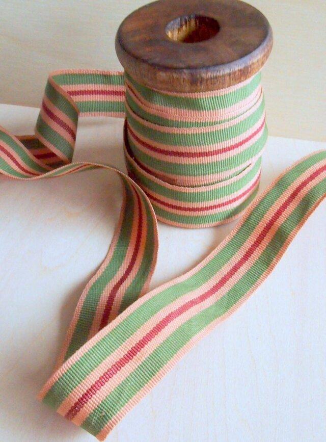 ストライプのリボン(7メートル) コットン製 木製ホルダー付きの画像1枚目