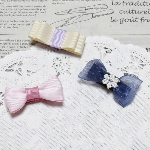★再販・りぼん★ ピンクと紺とアイボリーのちいさなりぼんのヘアクリップ 3個セットの画像1枚目