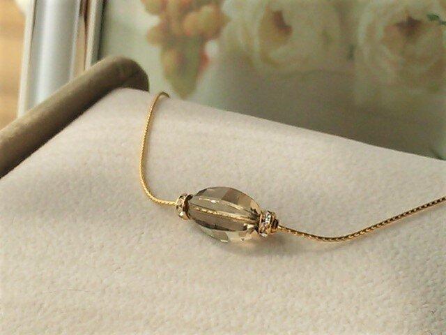 宝石質スモーキークオーツのK24GFネックレスの画像1枚目